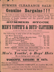 Advert for the Elephant Clothing Company